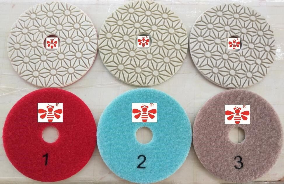 Orbital Sander Marble 3 Step Diamond Polishing Pads  , Grinder Concrete Polishing Discs